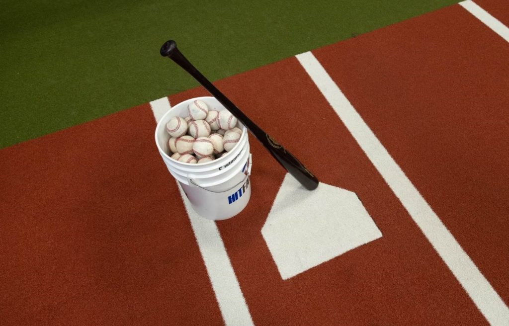 Home Plate with Bucket of Balls